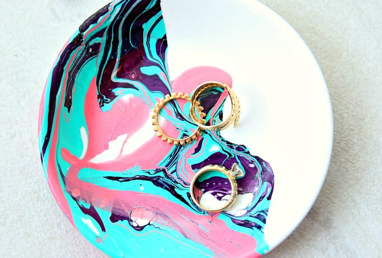 Marbled paint jewelry dish