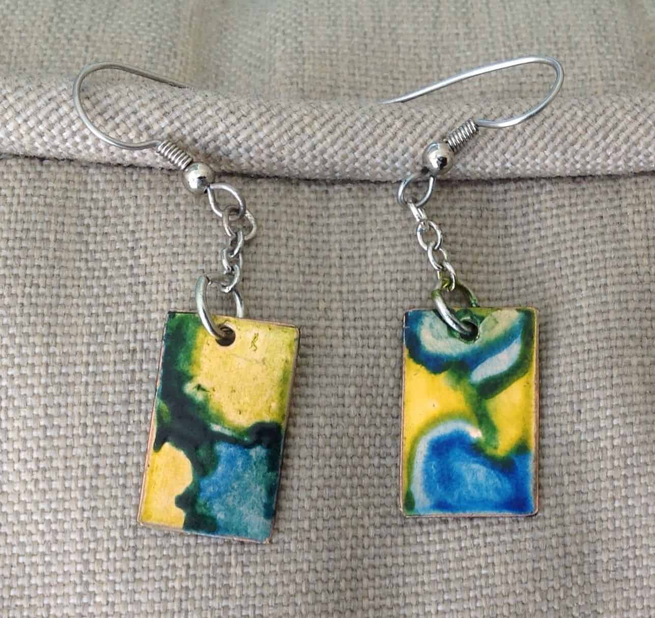 Metal alcohol ink earrings