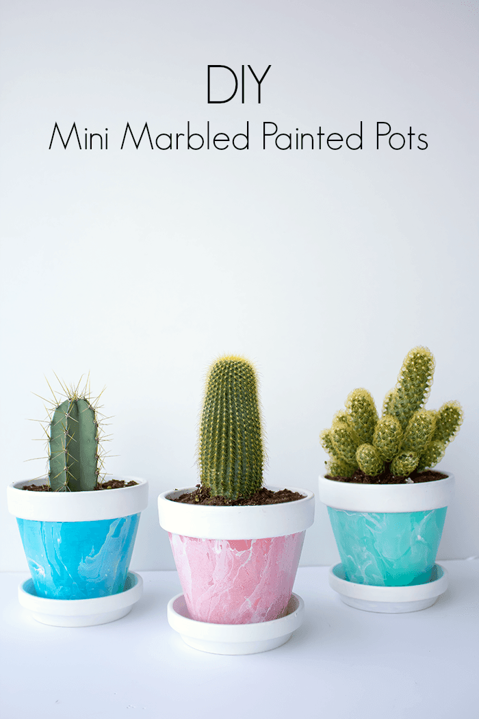Mini marbled paint pots