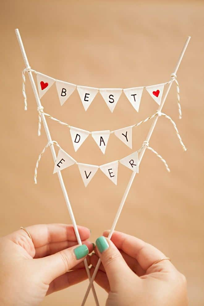 Miniature bunting cake topper