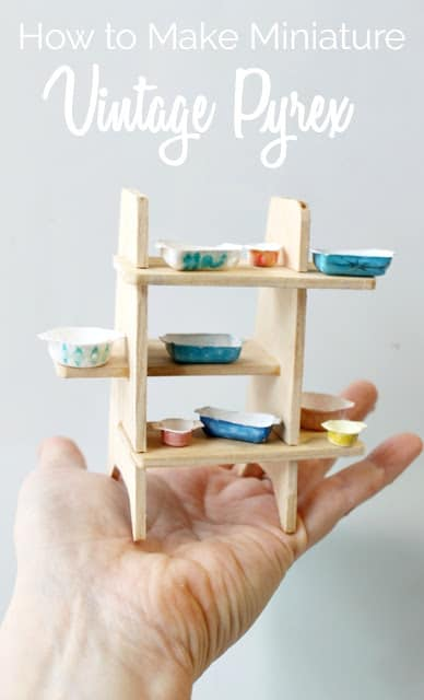 Miniature vintage Pyrex dishes and shelf