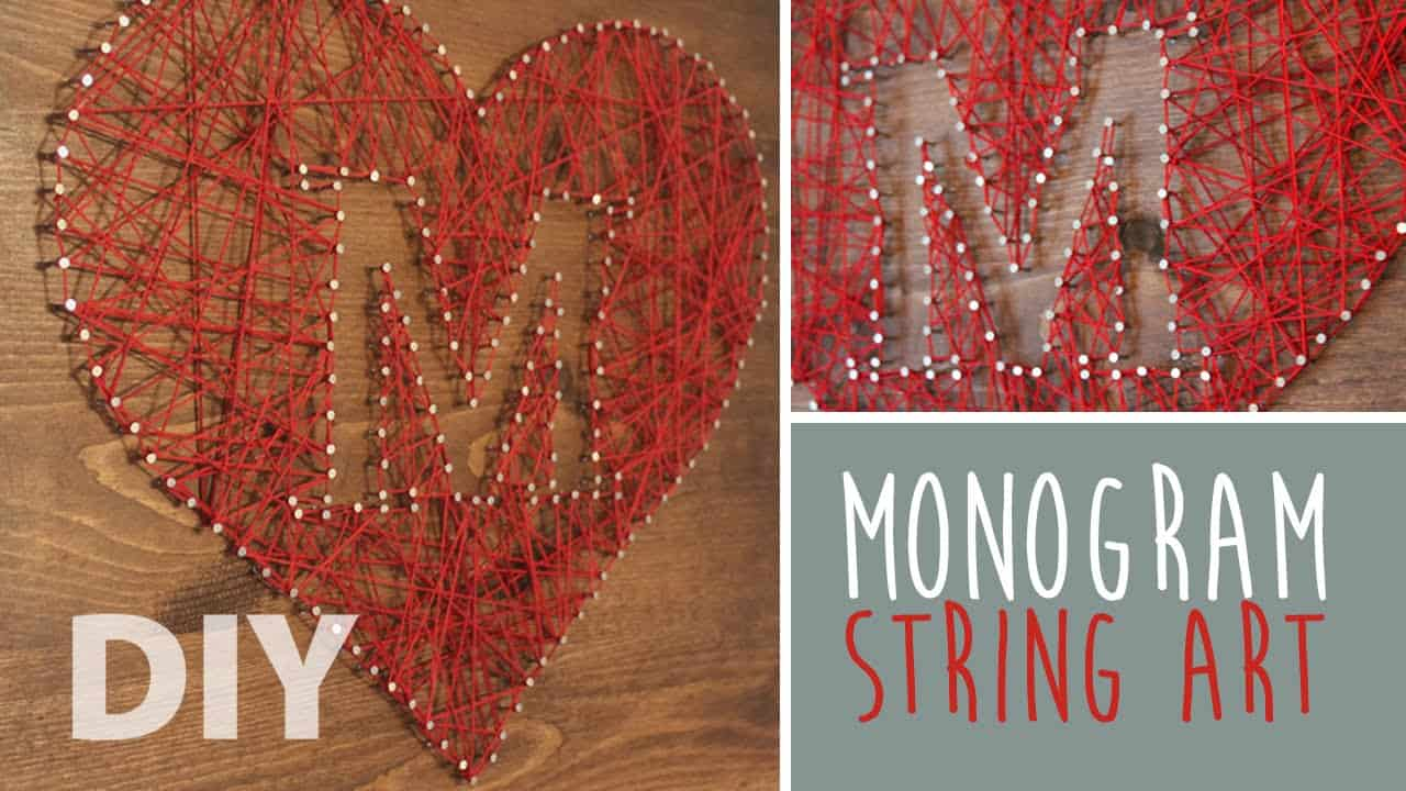 Monogram heart string art