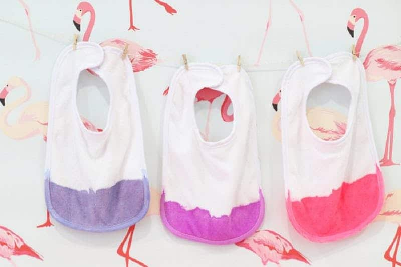 Non-toxic dip dyed baby bibs