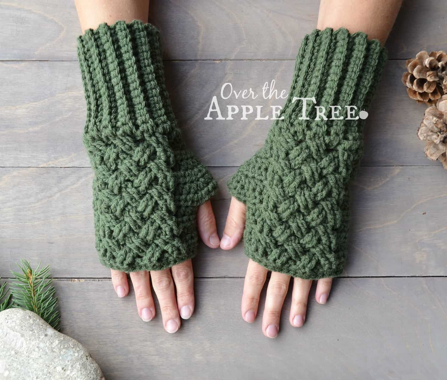 Over The Apple Tree celtic weave gloves