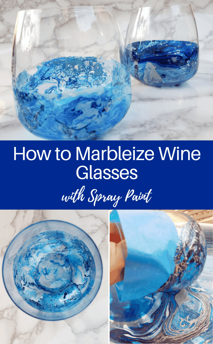 Paint marbled wine glasses