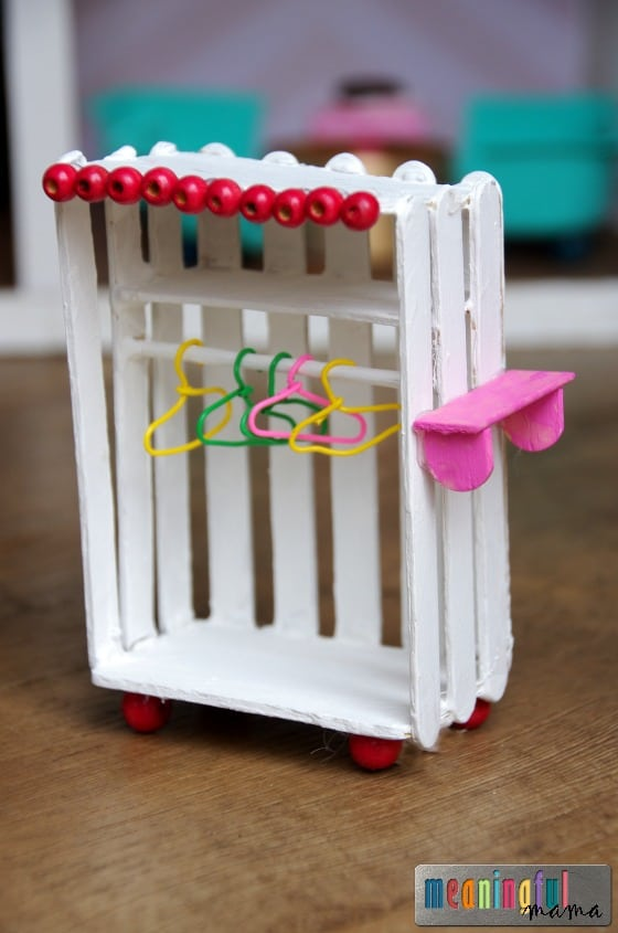 Popsicle stick and bead wardrobe