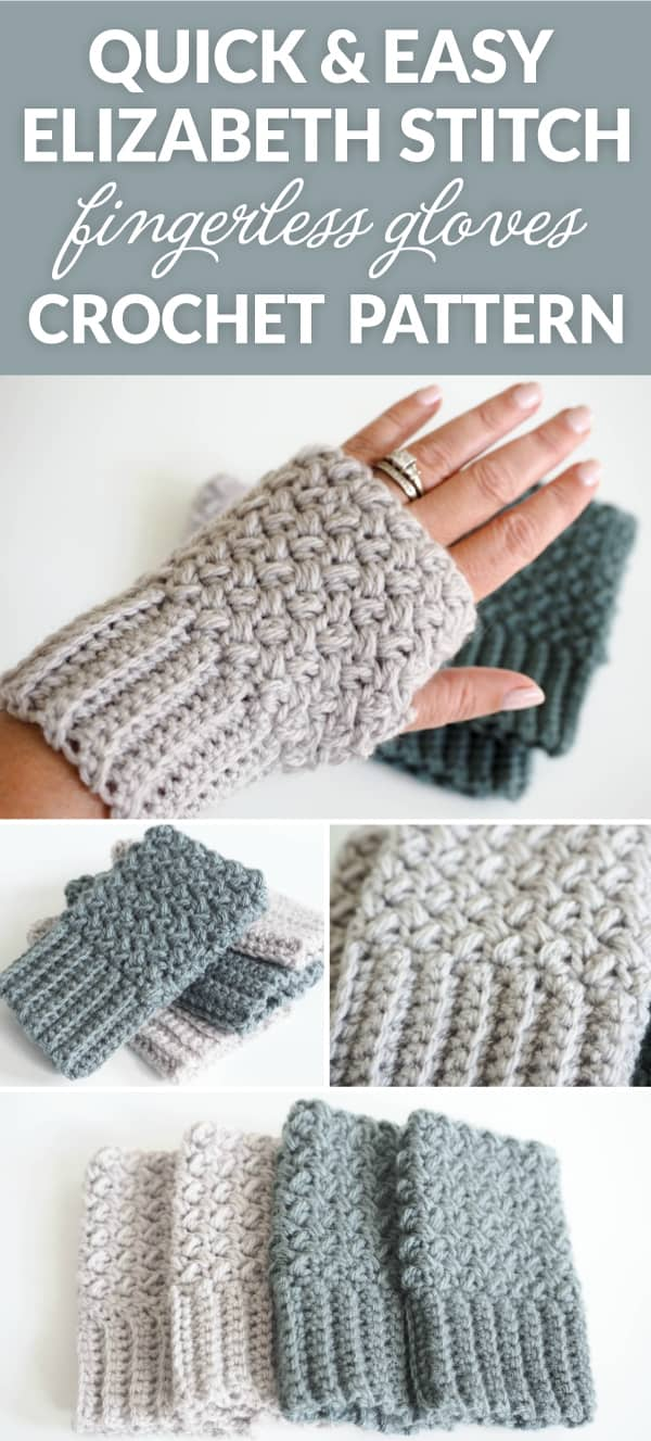Quick and easy Elizabeth stitch fingerless gloves