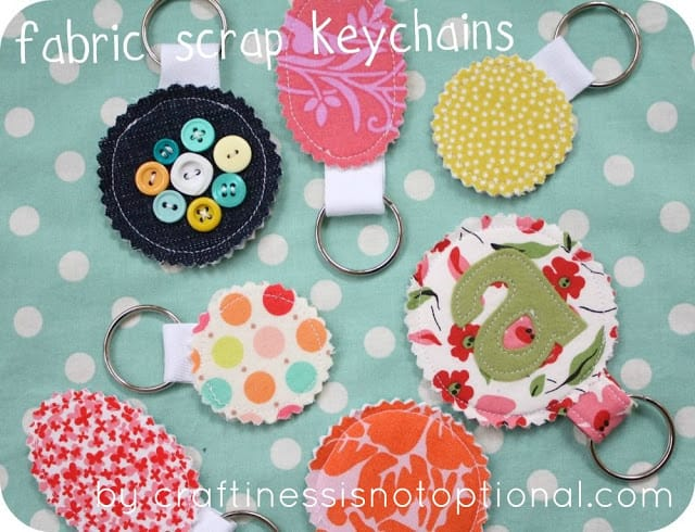 Scrap fabric keychains