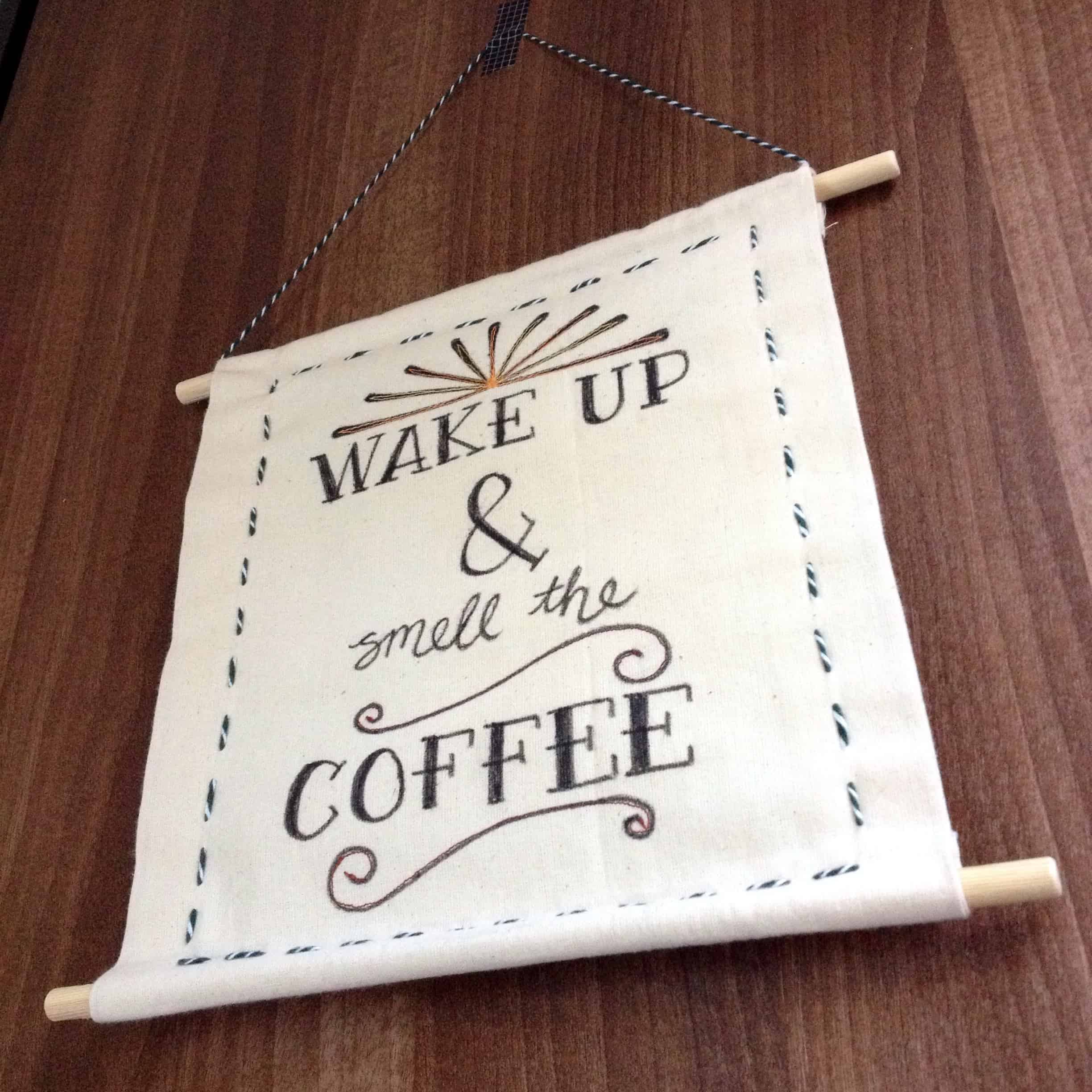 Scroll style fabric marker drawn wall hanging