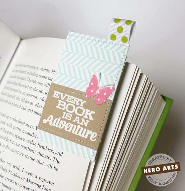 Sewn paper corner bookmarks