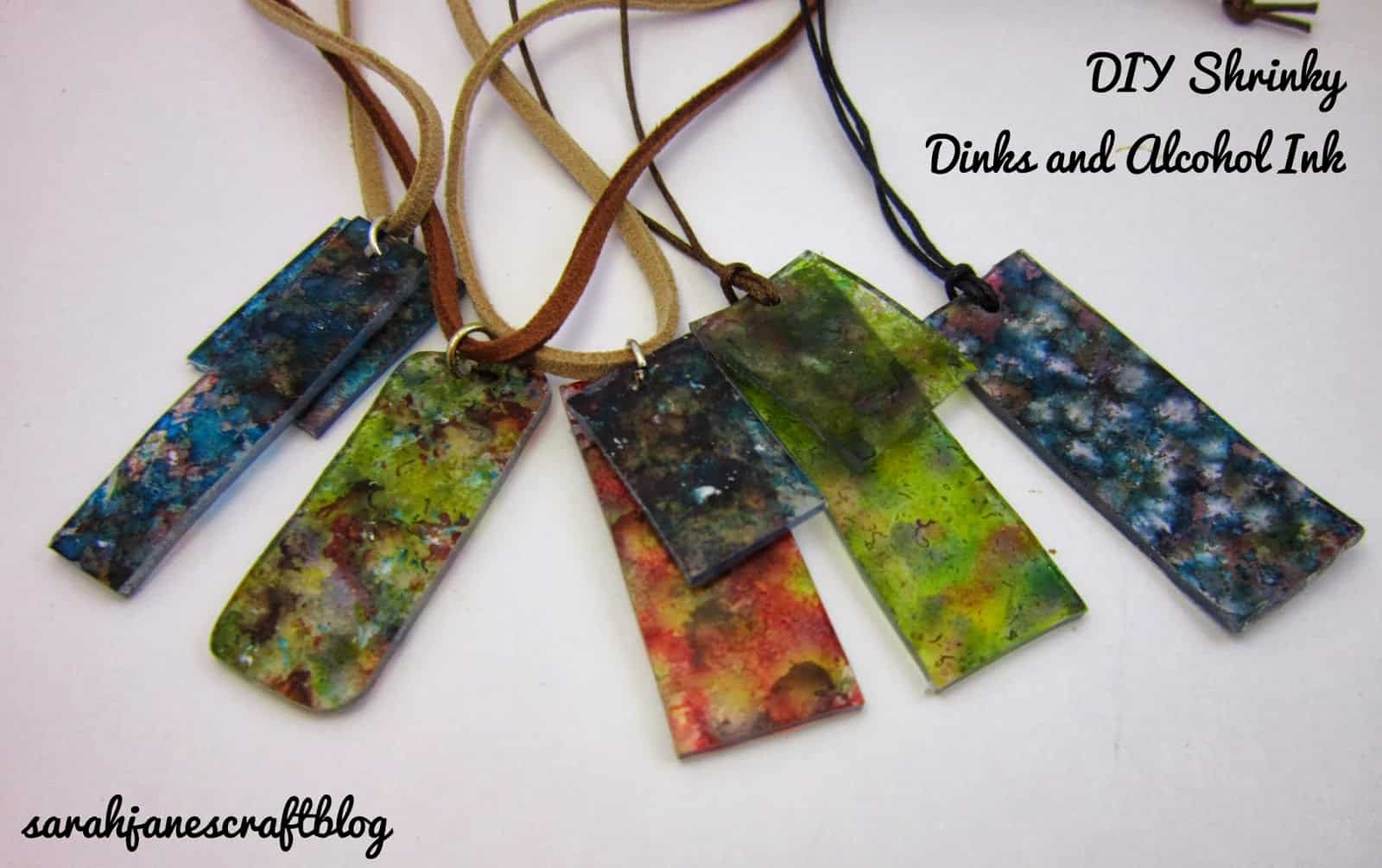Shrinky dinks and alcohol ink pendants