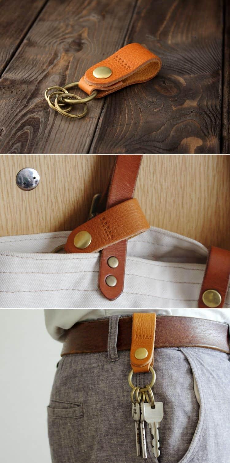 Simple DIY leather key holder