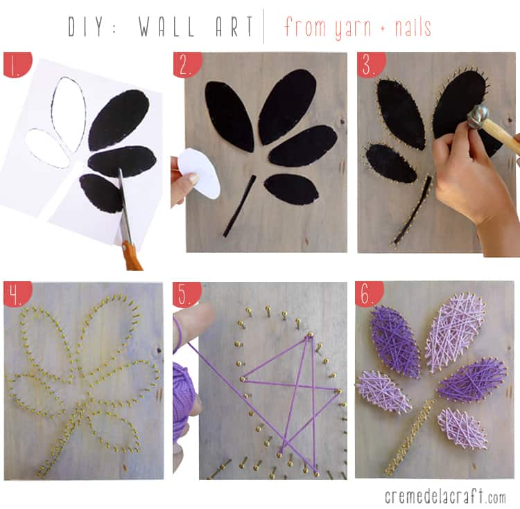 Simple blossom string art on wood