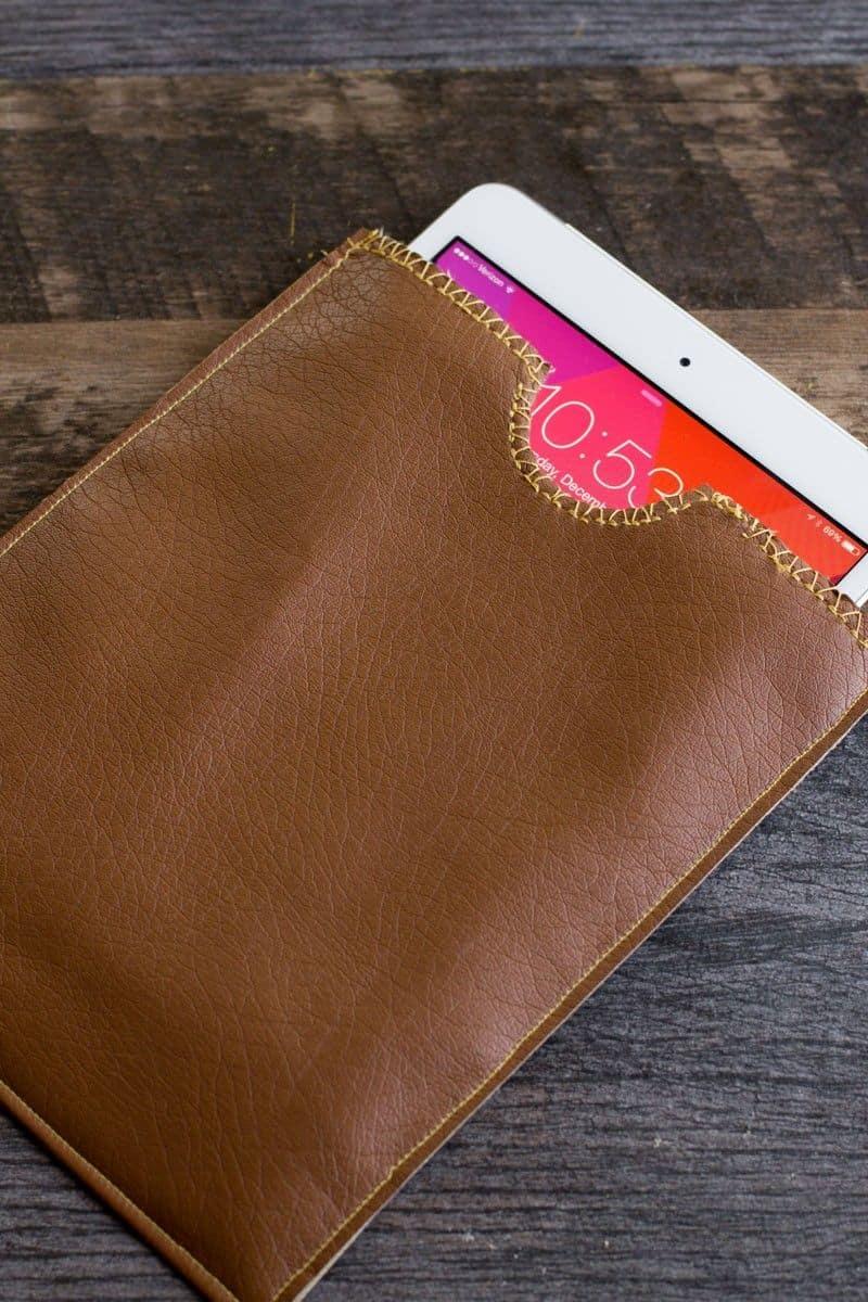 Simple leather iPad sleeve