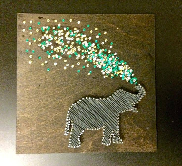 Spraying elephant sequin and string art