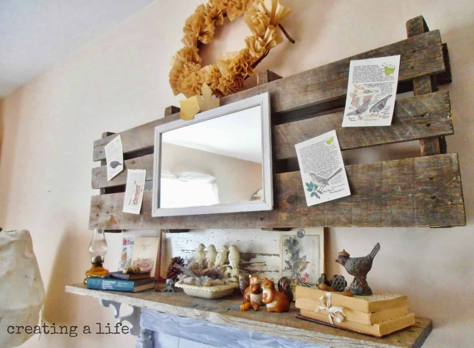Upcycled palette and book pages mantel