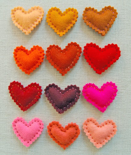 Valentine's felt heart pins