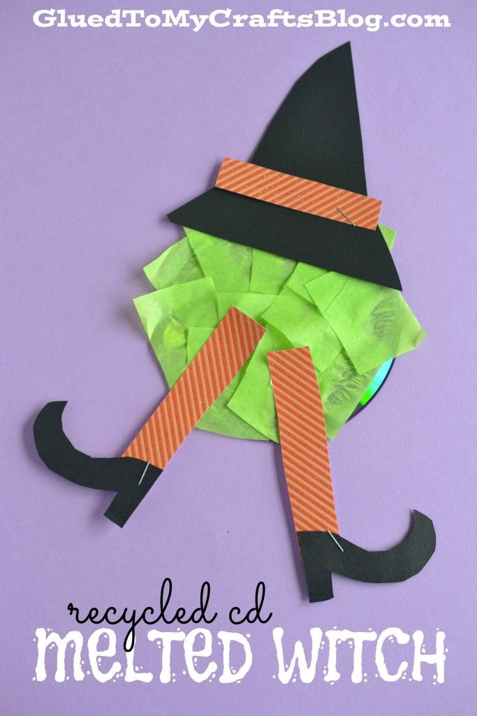 Melted witch made from a recycled CD