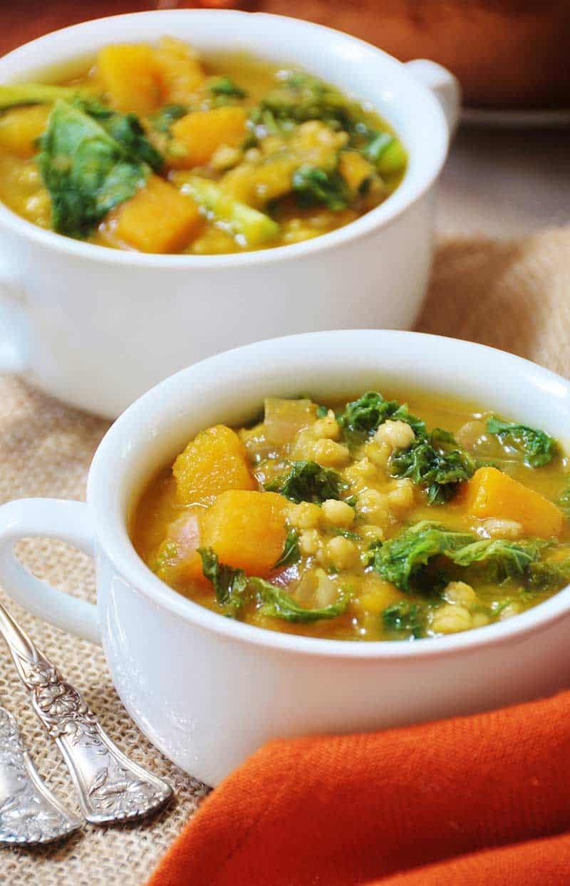 Acorn squash, kale, and barley soup