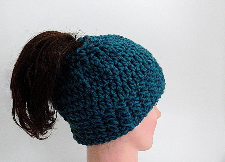 Homemade Headgear  Crocheted Messy Bun Hat Patterns 5250ef863b2c