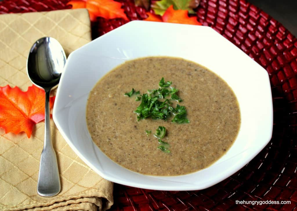 Autumn mushroom soup with cognac