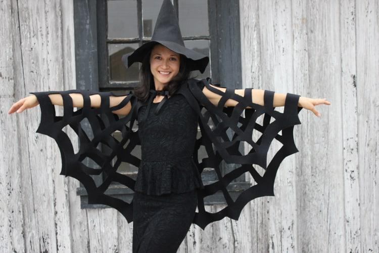 Awesome homemade spider web cape