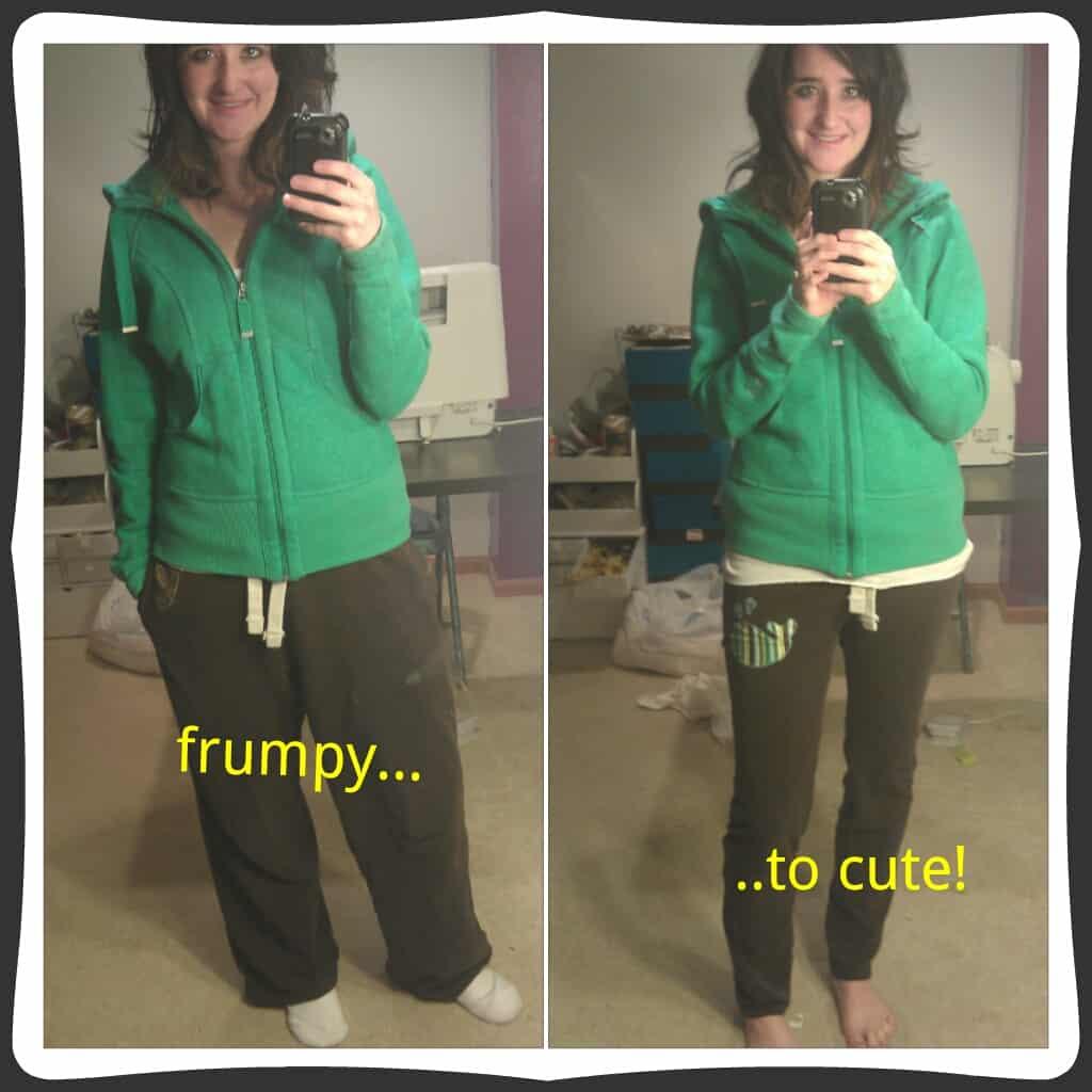 Baggy sweatpants to jogging leggings