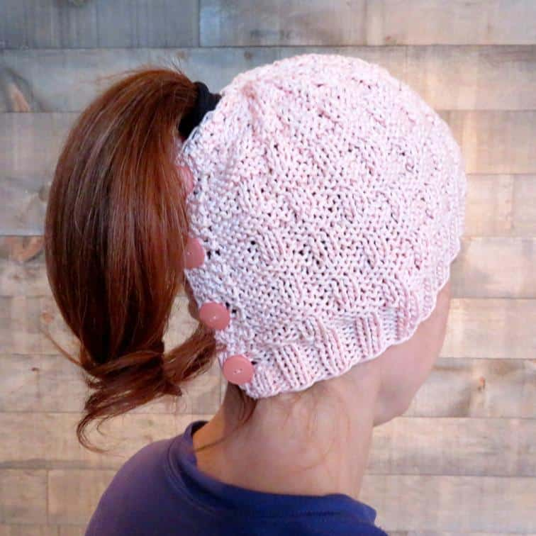 Basketweave buttoned ponytail hat