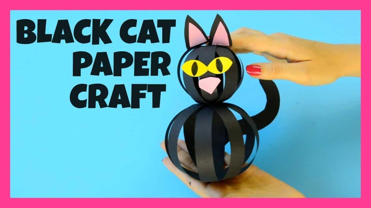 Black cat made of paper strip balls