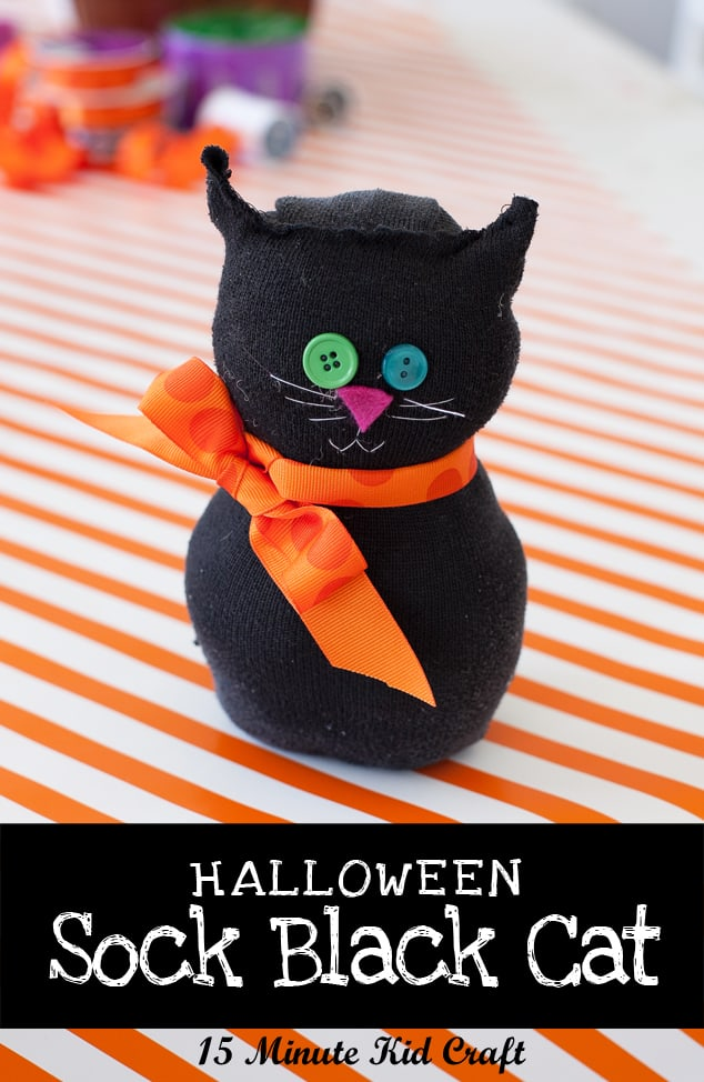 Black cat sock doll