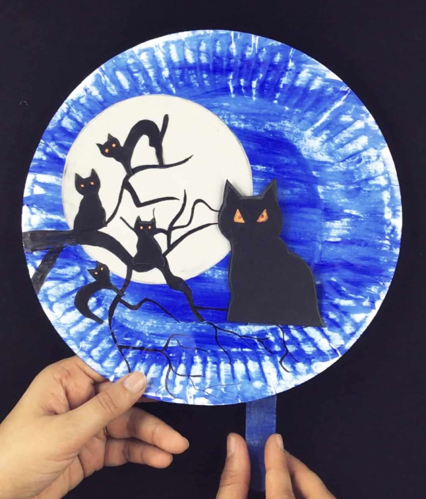 Black cats moving in the night plate craft