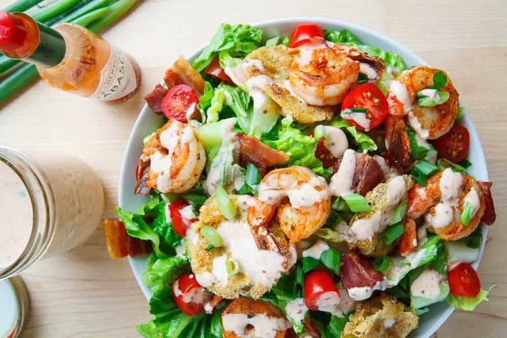 Blackened shrimp and fried green tomato salad
