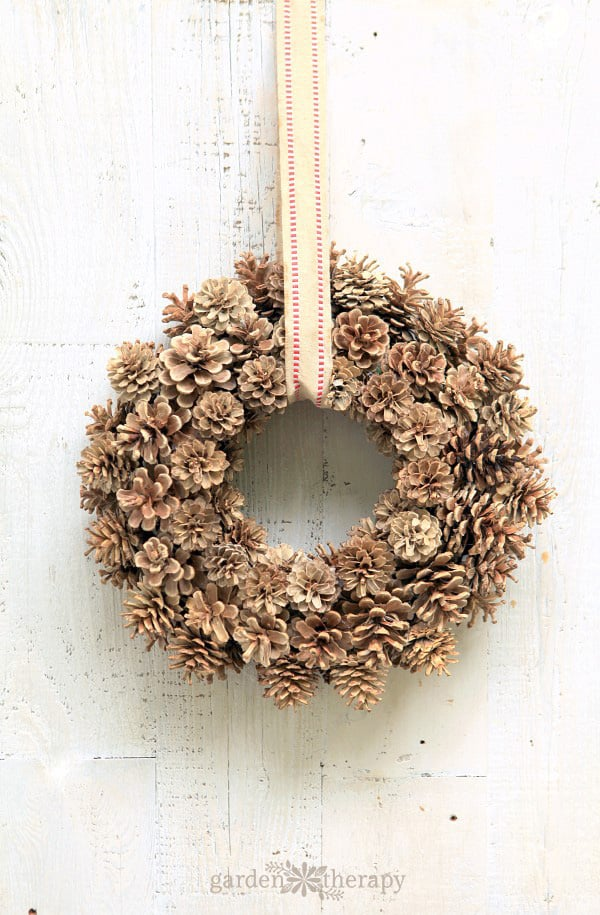 Bleached pin cone wreath