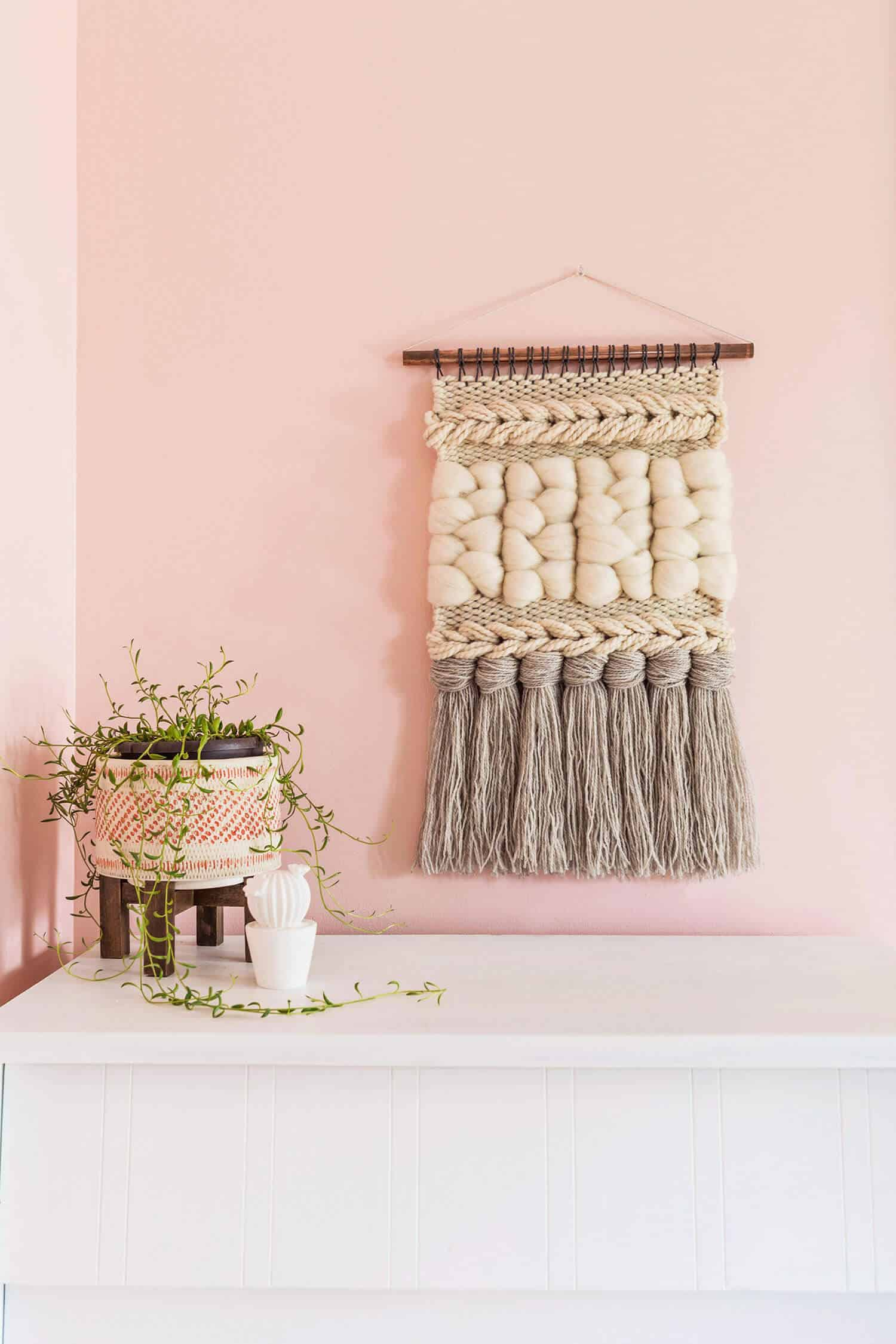 Braided and woven wall hanging