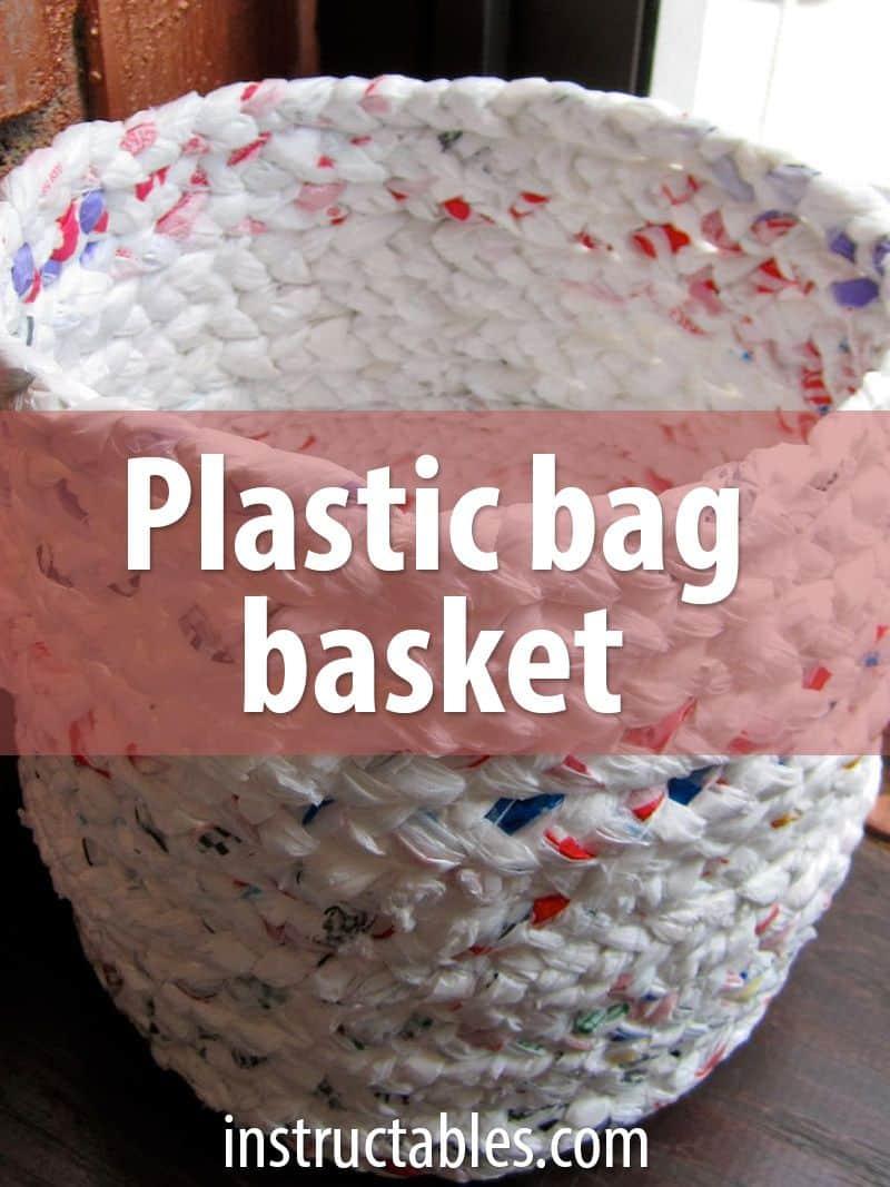 Braided plastic bag basket