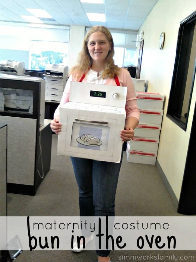 Bun in the oven costume from a cardboard box