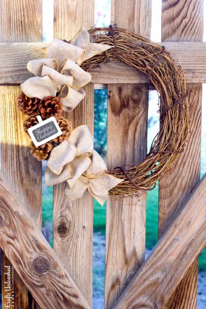 Burlap and pine cones branch wreath