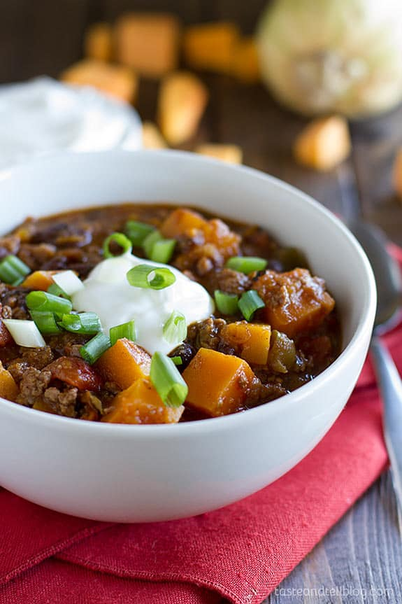Butternut squash chilli with beef