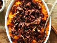 Butternut squash sweet potato casserole topped with pecans 200x150 Enjoying the Best of Fall: Pecan Recipes that leave You Wanting More!