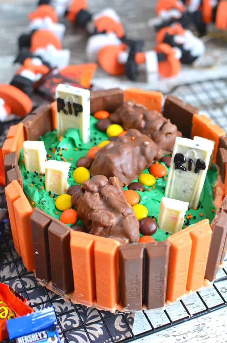 Candy bar graveyard Halloween cake