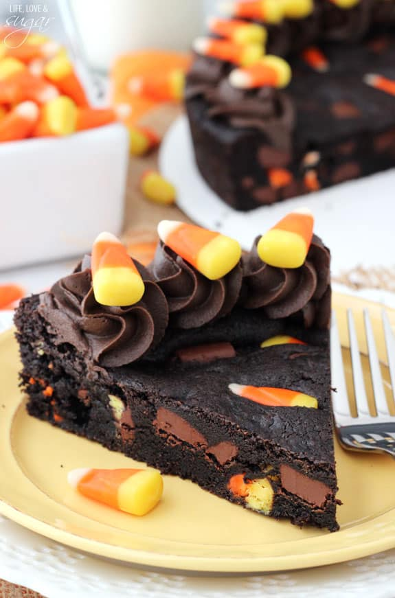 Candy corn chocoalte chip cookie cake
