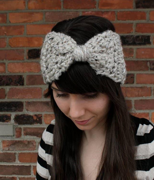 Crocheted bow ear warmer