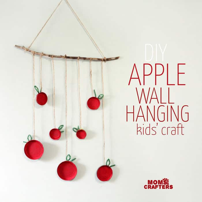 DIY apple and branch wall hanging