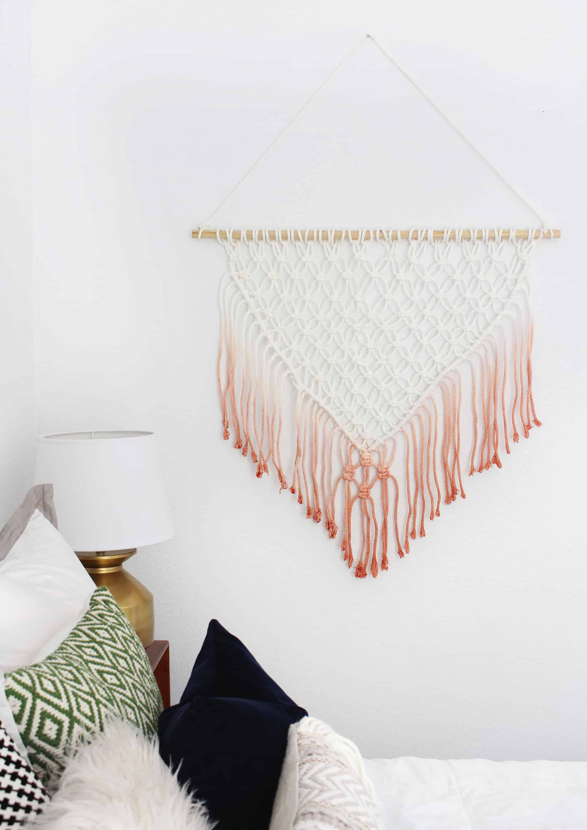 DIY dip dyed macrame wall hanging