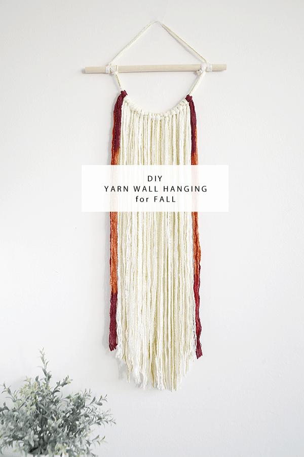 DIY fall coloured yarn hanging