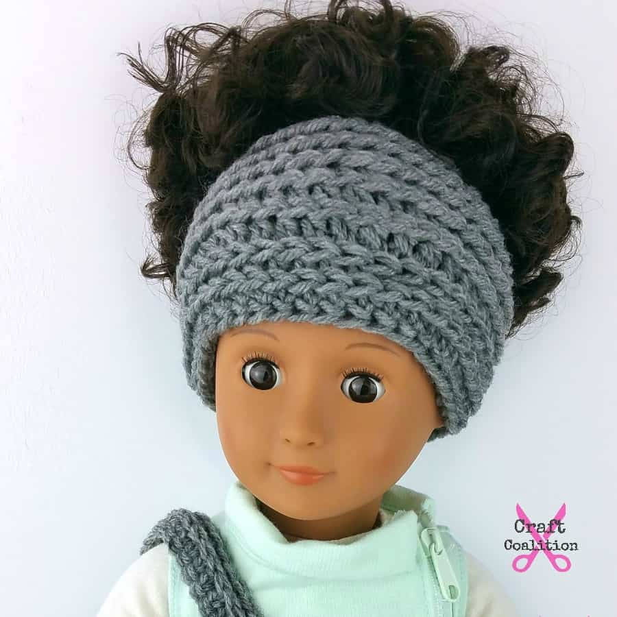 Doll's messy bun hat