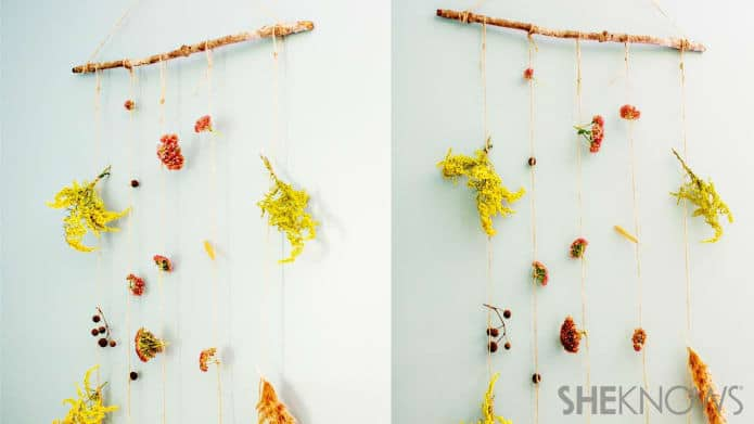 Dried fall flower and branch hanging