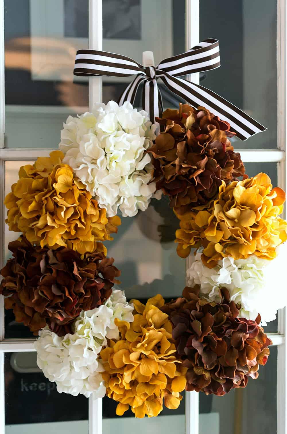 Dried hydrangea fall wreath
