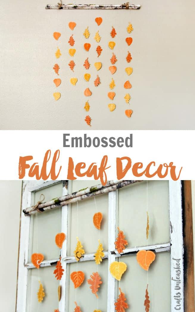 Embossed falling leaves wall hanging