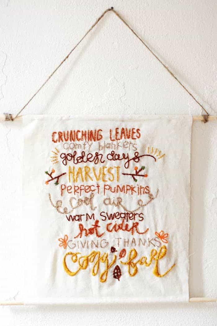 Embroidered fall words hanging